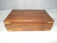 Recuerdo de joyería de madera Madera Grande Caja de la baratija con incrustaciones de esquina de latón