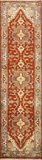 3x8 Indo Heriz Geometric Oriental Hand-Knotted All-Over Classic 8 ft Runner Rug