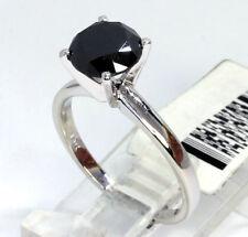 Nuevo Anillo Solitario Diamante de Compromiso Oro Blanco Negro