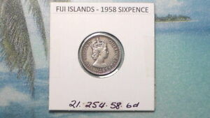 FIJI ISLANDS - 1958 SIXPENCE - COLONIAL ERA - PREDECIMAL COIN. Copper/Nickel.