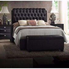 King Size Platform Beds Upholstered Leather Black Headboard Button Tufted Bed