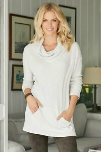 Soft Surroundings Easy Everyday Tunic Cowl Neck *In Cobalt* Small