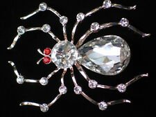 GOLD CLEAR RED VENOMOUS BROWN RECLUSE BLACK WIDOW SPIDER PIN BROOCH JEWELRY 3""