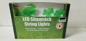 LED Shamrock String  Lights St Patricks Day Battery