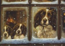 Springer Spaniel Dog Puppy Painting Christmas Xmas Card