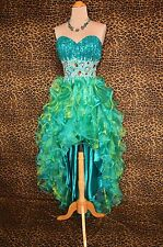 Sea Green Evening Prom Pageant Bridesmaid Wedding High Low Formal Gown Dress S 4