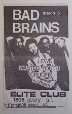 BAD BRAINS/LEWD/WASTED YOUTH/CRUCIFIX Original Show Flyer 1982 PunK HC kbd