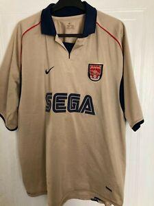 Vintage Arsenal Away Shirt Gold Sega Nike 2001-2 Size XL