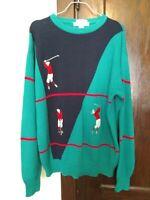 VINTAGE!! IZOD CLUB Hand Intarsia Crew Neck Golf Sweater Sz LG Green, Blue, Red