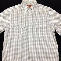 RM Williams Mens Relaxed Fit Cotton Button Up Short Sleeve Check Shirt Size L