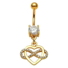 Stainless Steel CZ Infinite Heart Button Navel Curved Belly Bar Ring 14G Jewelry