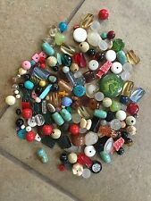 Vintage Large Assorted Old Plastic Lucite Bead & Flatback Destash Bead Lot Wow!