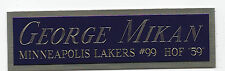 GEORGE MIKAN NAMEPLATE FOR AUTOGRAPHED Signed BASKETBALL-JERSEY-PHOTO-FLOOR CASE
