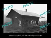 OLD POSTCARD SIZE PHOTO OF MILLERTON PENNSYLVANIA RAILROAD DEPOT STATION c1910