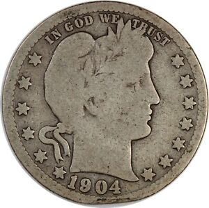 1904-O United States Barber Head Quarter - VG Very Good Condition