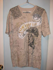 Affliction T-Shirt 2XL Double Sided NEW Clean Beige MMA Grim Reaper