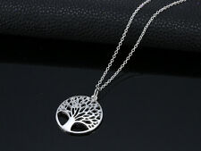 Chic 925 Sterling Silver Hollow Wishing Tree Pendants The Tree of Life Necklaces