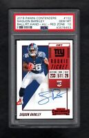2018 Panini Contenders #102 SAQUON BARKLEY RC Rookie Auto-Red Zone PSA 10 POP 2