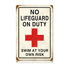"""Vintage Style Retro No Lifeguard Swim At Own Risk Steel Metal Sign 12"""" x 18"""""""