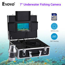 "Eyoyo 360° Panning 7"" Monitor IR Underwater Fishing Camera Fishfinder 36LED+8GB"