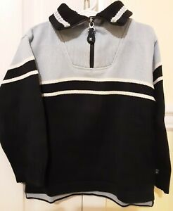 ELAND Boys Navy/Lt Blue Half Zip Long Sleeve Cotton Blend Knit Sweater - Size 6