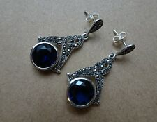 Jewelry & Watches Popular Brand Gemondo Sterling Silver Marcasite & Enamel Art Deco Drop Earring & Necklace Set Good Taste