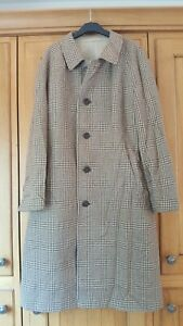 Vintage Aquascutum mens brown check reversible wool overcoat 44 Reg VGC