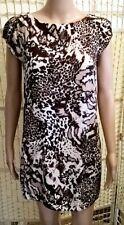 Wallis tunic size 12 brown ivory animal print short sleeve cotton-feel dress VGC