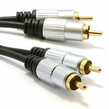 1m Pro Audio Metal 2 x RCA Phono Plugs to Plugs Cable Lead Gold [006943]
