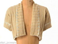 Anthropologie Woven Flicker Bolero Small Medium Gold Metalic Topper 2 4 6 8 NWT