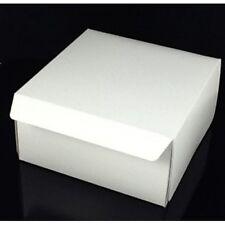 "10 x Fold Flat Cake Boxes 7""x 7""x 3"" Cup Cake Muffin White Cardboard Cake Box"