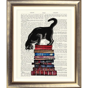 ART PRINT ON ORIGINAL ANTIQUE PAGE Picture Dictionary Kitten Cat Book Vintage