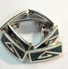 MEXICAN STERLING SILVER AND MALACHITE LINK BRACELET