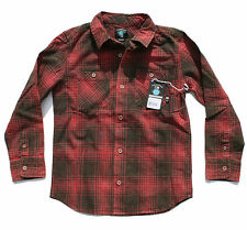 Fourstar NIXA Boys Youth Long Sleeve Button Front Shirt Washed Red Medium NEW