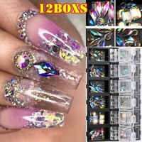 12boxes Nail Art Rhinestones Glitter Diamonds Crystal Gems 3D Tips Decorations