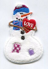 CHRISTMAS EMBROIDERED IRON ON SNOWMAN APPLIQUE 3665-K
