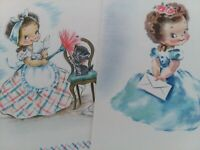 2 UNUSED Vtg GIRLS KITTEN Rust Craft Blank Inside Note GREETING CARDS