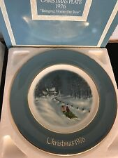 """Christmas """"Bringing Home The Tree"""" 1976 Collectible Plate Avon Enoch Wedgwood"""
