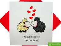 Two cute sheep in love Quilling Greeting Card - Unique Dedicated Handmade Art