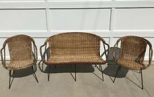 Vintage 1950-60s Mid-Century Modern Black Iron & Wicker Love Seat and Chair Set