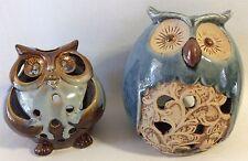 2 Ceramic Owl Candle Holders