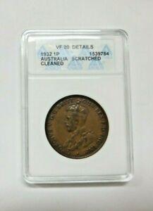 1932 Australian Penny ANACS  VF 20! Lot 267