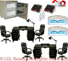 2x Vented Manicure Nail Table Station Dryer Rack Executive Chair Salon Equipment