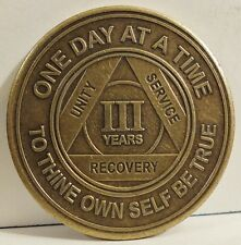 Alcoholic 3 Year Recovery - One Day Chip-Medallion Coin Medal Token AA Anonymous