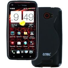 for HTC DROID DNA 6435 Flexible Black S-Shape Soft Gel TPU Skin Case Cover