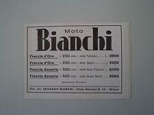 advertising Pubblicità 1936 MOTO BIANCHI FRECCIA D'ORO / AZZURRA
