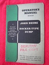 VINTAGE ORIGINAL JOHN DEERE ROCKER-TYPE DUMP OPERATORS MANUAL