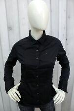 TOMMY HILFIGER Camicia Taglia S Donna Nero Cotone Shirt Casual Manica Lunga