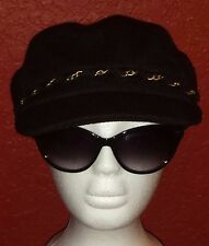 HAT ATTACK NWT $54 black with gold chain wool newsboy hat cap one size