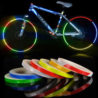 Motorcycle Bicycle Reflector Security Wheel Rim Decal Tape Reflective Stickers